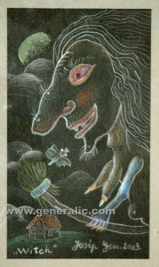Josip Generalic, 2003, A witch, 16x9cm, pastel, 100 eur