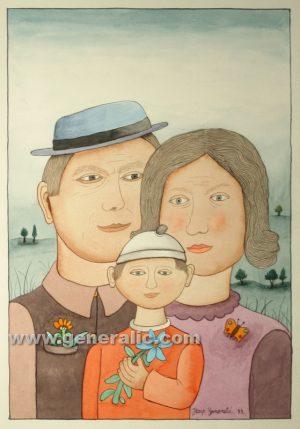 Josip Generalic, A family, watercolour, 1999, 46x31 cm