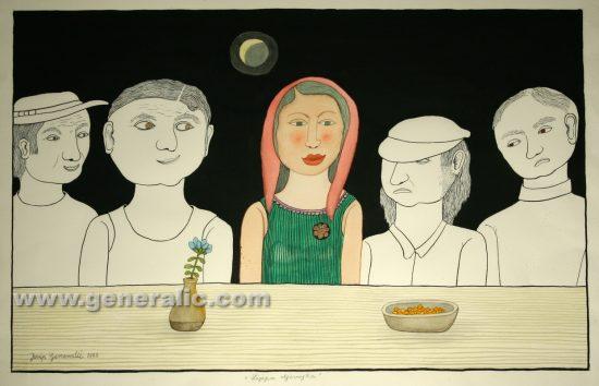 Josip Generalic, Beautiful girl, watercolour, 1999, 69x43 cm