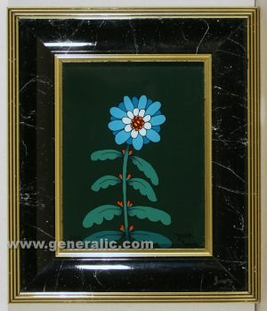 Josip Generalic, Blue flower, oil on glass, 16×12 cm - Price 1.000 eur
