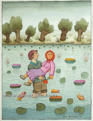 Josip Generalic, Boy carrying a girl, watercolour, 1994, 45x35 cm 40x30 cm