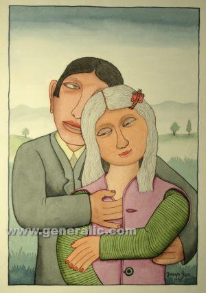 Josip Generalic, Couple in love, watercolour, 1998, 46x32 cm