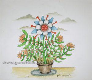 Josip Generalic, Flowers in a bucket, watercolour, 2004, 33x37 cm