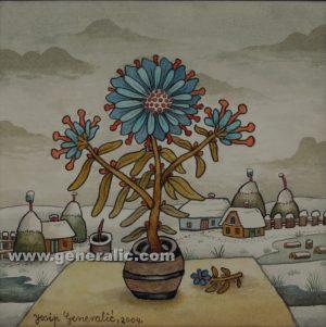 Josip Generalic, Flowers on a table, watercolour, 2004, 25x25 cm