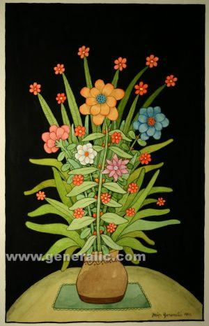 Josip Generalic, Flowers, watercolour, 1999, 69x43 cm