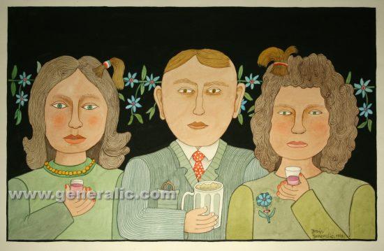 Josip Generalic, Gentleman with ladies, watercolour, 1999, 43x69 cm