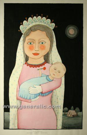 Josip Generalic, Happy child, watercolour, 1999, 69x43 cm
