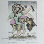Josip Generalic JG-C03-01 Jealous mutant watercolored etching 35x28cm 23x17cm =80 eur