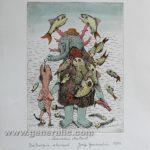 Josip Generalic JG-C09-01 Underwater mutant watercolored etching 38x28cm 24x18cm =80 eur