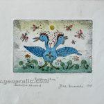 Josip Generalic JG-E04-01 Two-headed bird watercolored etching 20x27cm 10x15cm =80 eur