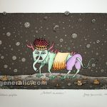 Josip Generalic watercolored serigraphy JG-L23-01 Mutant with trunk 35x50cm 24x35cm =80 eur