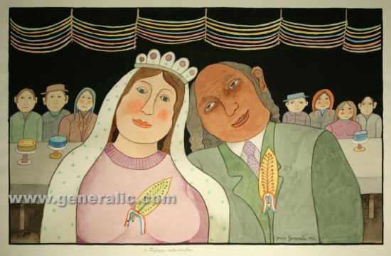 Josip Generalic, Lovely bride, watercolour, 1999, 43x69 cm