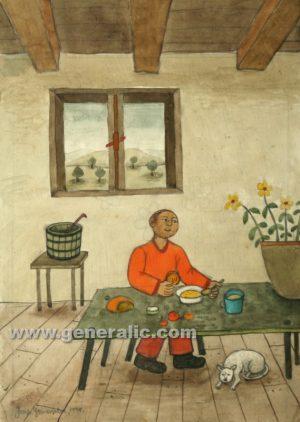 Josip Generalic, Man at lunch, watercolour, 1970, 29x21 cm