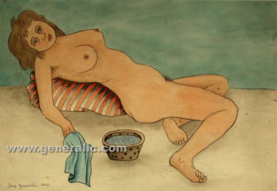 Josip Generalic, Nude female, watercolour, 1962, 27x39 cm