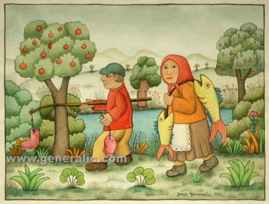 Josip Generalic, Return from fishing, watercolour, 1994, 40x50 cm 30x40 cm
