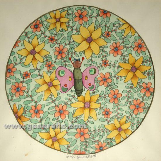 Josip Generalic, Round flowers, watercolour, 1995, 50x50 cm 40x40 cm