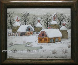Josip Generalic, Winter, watercolour, 2004, 15x18 cm