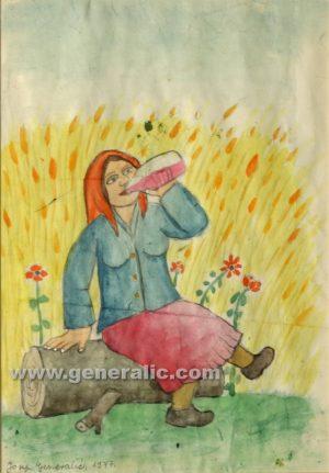 Josip Generalic, Woman is drinking, watercolour, 1977, 24x18 cm