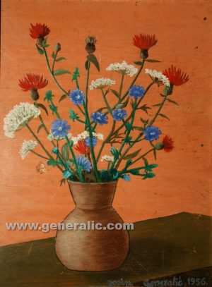 Josip Generalic, oil on canvas, 1956, Flowers, 36x28 cm - Price 5000 eur
