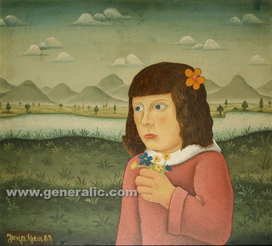Josip Generalic, oil on canvas, 1967, Girl with flowers, 49×53 cm - 10.000 eur