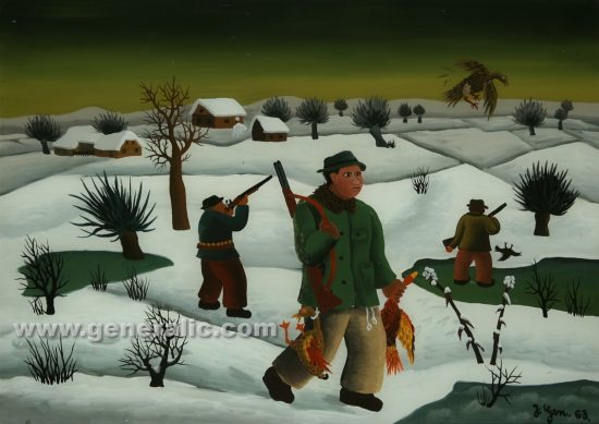 Josip Generalic, oil on glass, 1963, Hunters in winter, 30x42 cm - Price 5.000 eur