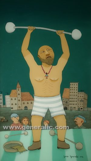 Josip Generalic, oil on glass, 1976-15, Weight lifting, 66x38 cm - Price 5000 eur