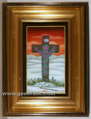 Josip Generalic, oil on glass, 1994, Flower cross, 26x17 cm - Price 2.000 eur