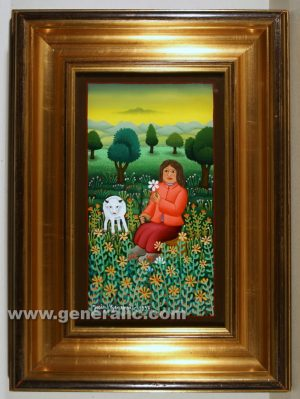 Josip Generalic, oil on glass, 1997, Woman with a sheep, 29x17 cm - Price 3000 eur
