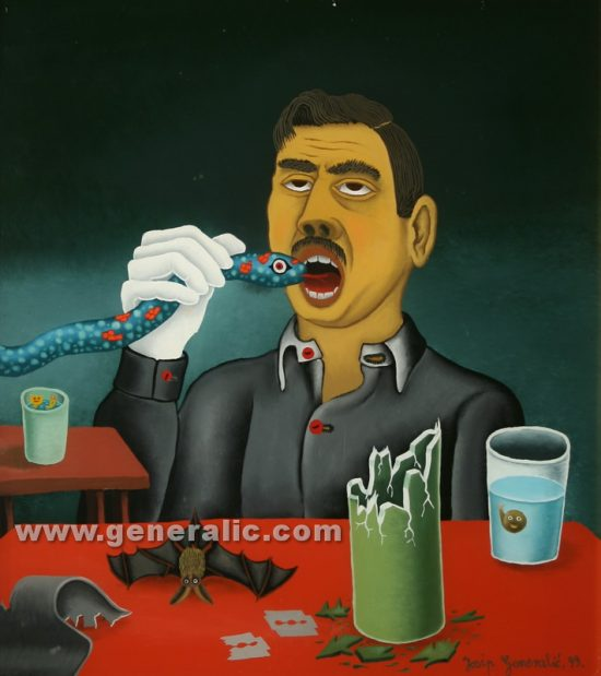 Josip Generalic, oil on glass, 1999, Illusionist, 45×40 cm - Price 2000 eur