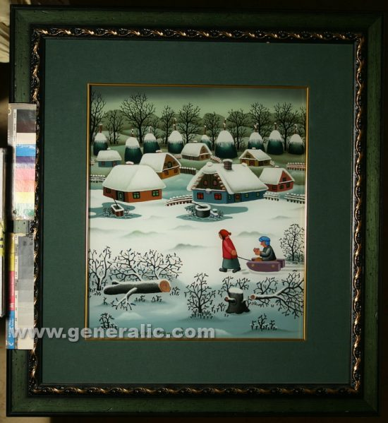 Josip Generalic, oil on glass, 2000, Children with sledge, 40x35 cm - Price 4000 eur