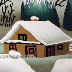 Josip Generalic, oil on glass, 2000, Children with sledge, 40x35cm detail 06