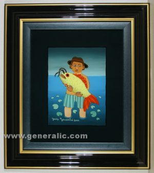 Josip Generalic, oil on glass, 2000, Man with yellow fish, 27×22 19x14 cm - Price 1000 eur