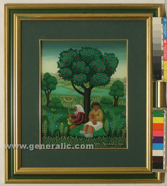 Josip Generalic, oil on glass, 2000, Under apple tree, 30x24 cm - Price 4000 eur