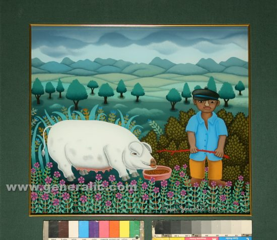 Josip Generalic, oil on glass, 2001, Boy with white pig, 34x39 cm - Price 3000 eur