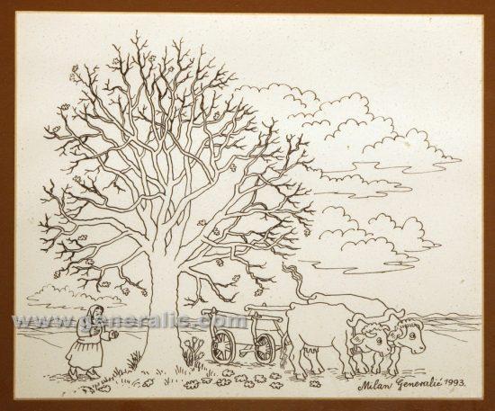 Milan Generalic (1950-2015), Cows, serigraphy, 1993, 25x30 cm, 50 eur