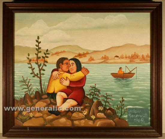 Milan Generalic (1950-2015), Lovers, oil on canvas, 30x25 cm, 1969, 500 eur