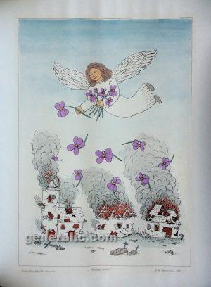 Josip Generalic JG-J01-01 The Angel of peace, water-coloured silkscreen 73x50cm 83x100cm 1992