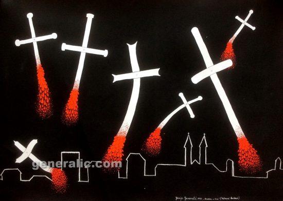 Josip Generalic JG1991-01 Croatia in blood - Crosses on fire, acrylic on paper, 100x70 cm, 1991