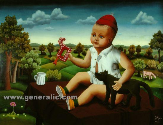 Ivan Generalic, My grandson (Moj unuk), oil on glass, 1972, 120×160 cm - Price on request