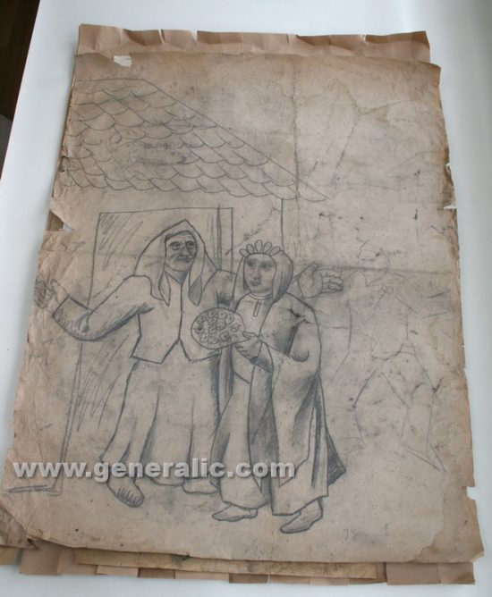 Ivan Generalic, A bride, pencil on paper, 1967, 112x90 cm