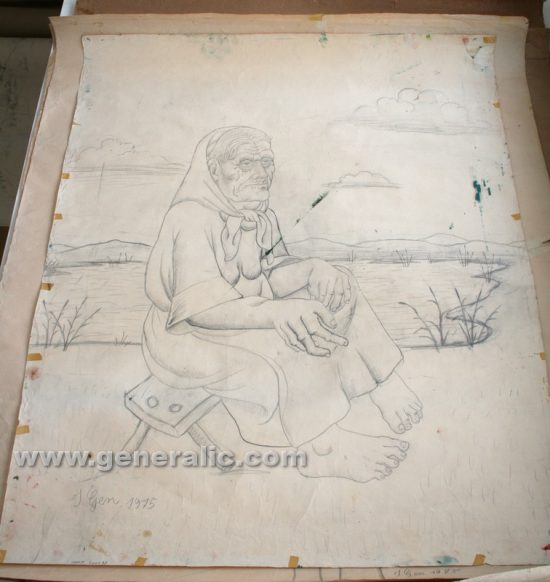 Ivan Generalic, Gipsy woman, pencil on paper, 120x97 cm, 1975