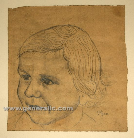 Ivan Generalic, Girl's portrait, pencil on paper, 32x30 cm (framed)