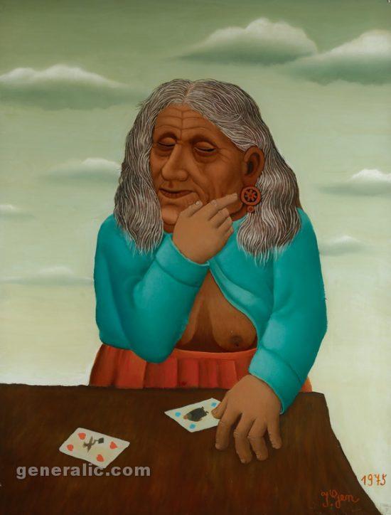 Ivan Generalic, Divination (Gatara), oil on glass, 97x75 cm, 1975