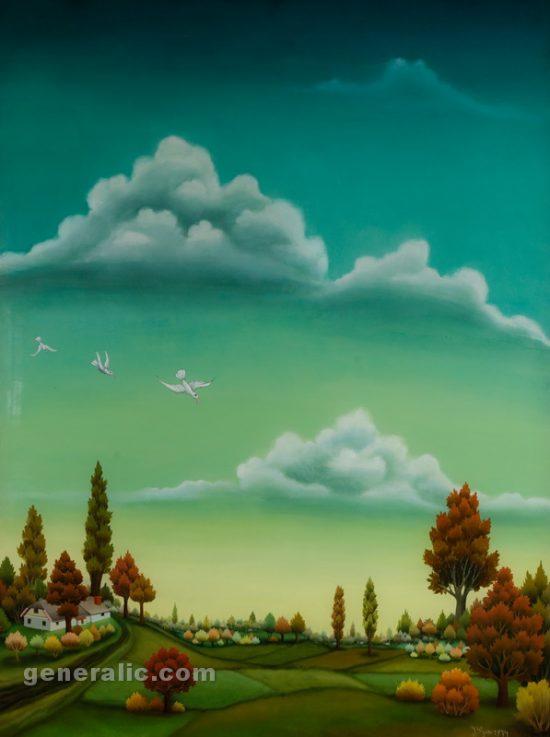 Ivan Generalic, Low landscape (Niski pejzaz), oil on glass, 97x73 cm, 1974