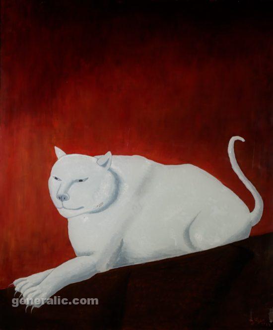 Ivan Generalic, White cat (Bijeli macak), oil on glass, 90x75 cm, 1974