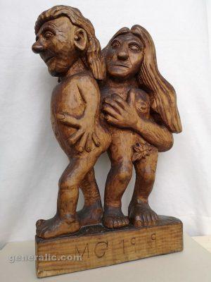 Mato Generalic, Adam and Eve, wood, 56 cm, 1969 - 2.000 eur