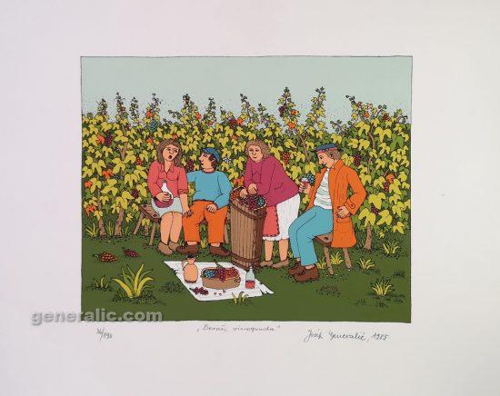 Josip Generalic, JG-S01-01, Vineyard, silkscreen, 35x49 cm 20x25 cm, 1985 - 300 eur
